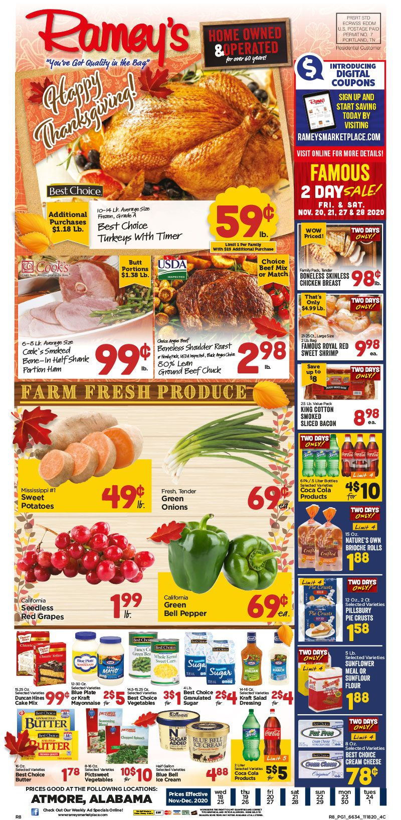 Ramey S Thanksgiving Weekly Ad Flyer November 18 To December 1 2020